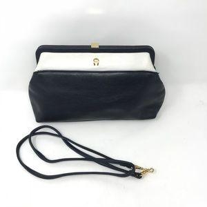 Vintage aigner clutch bag purse navy blue white